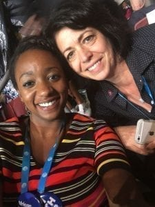 Tennessee Young Democrats President London Lamar and Tennessee Democratic Party Chair Mary Mancini get their heads together at the National Democratic Convention. Courtesy photo