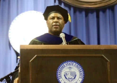 Motivational Speaker Eric Thomas delivers the keynote address at TSU¹s 2018 Spring Undergraduate Commencement Ceremony.