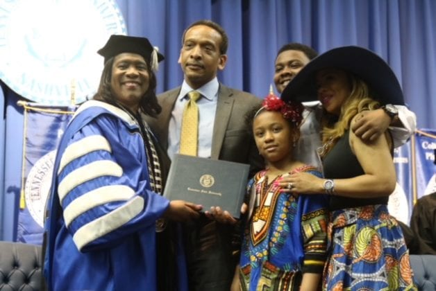President Glenda Glover posthumously presaents Denese McGarry Sampson¹s degree to her family. McGarry, an engineering major, died Nov. 11, 2017. (Photo by Courtney Buggs, TSU Media Relations)