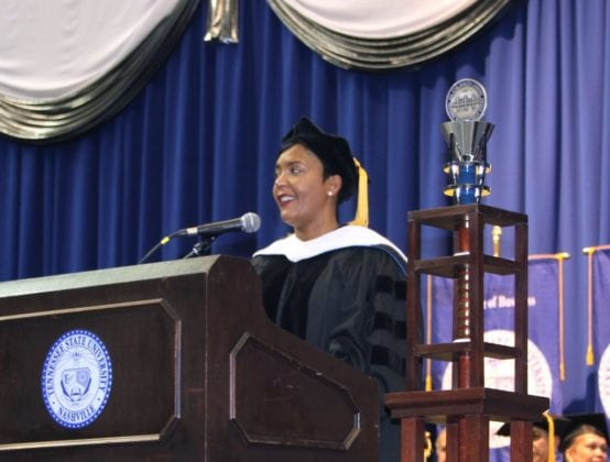 Tennessee State University graduate students receive some inspiring words from Atlanta Mayor Keisha Lance Bottoms.