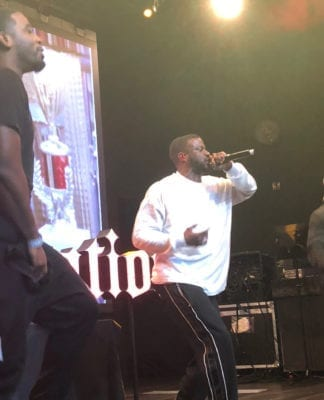 (l-r) Reason, Jay Rock, DJ Dron performing at Top Golf in Nashville, TN.(Photo by Eli Christoph)