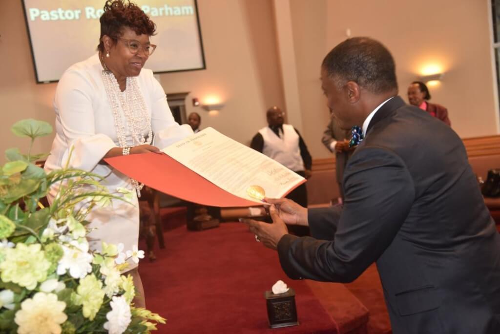 Pastor Tolbert Presents Proclamation to Pastor Jones