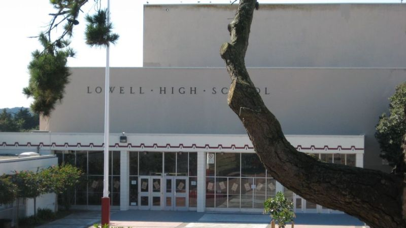 Lowell High School in San Francisco, Calif. is an elite public school that has served for decades as a magnet for high-achieving eighth-graders across the city's demographic groups and neighborhoods. School board members have scrapped its competitive entrance exam in favor of a random lottery. (Wikimedia Commons)