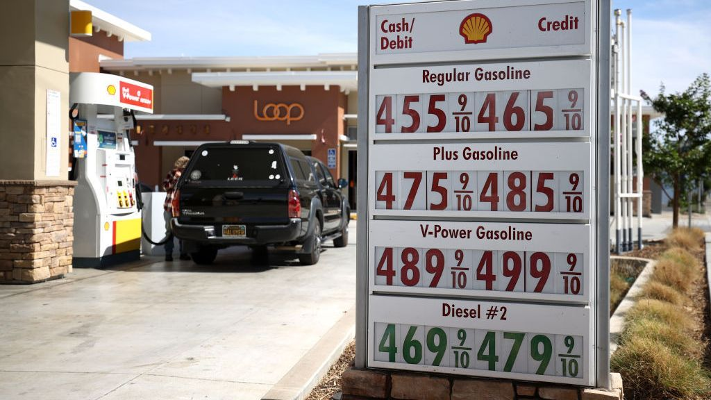 Like crude oil, the average retail price for gasoline is at a seven-year-high. (Justin Sullivan/Getty Images)